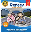 Veneev Car Sun Shade for Side and Rear Window (3 Pack) - Car Sunshade Protector - Protect your kids and pets in the back seat from sun glare and heat. Blocks over 97% of harmful UV Rays - Easy to Install