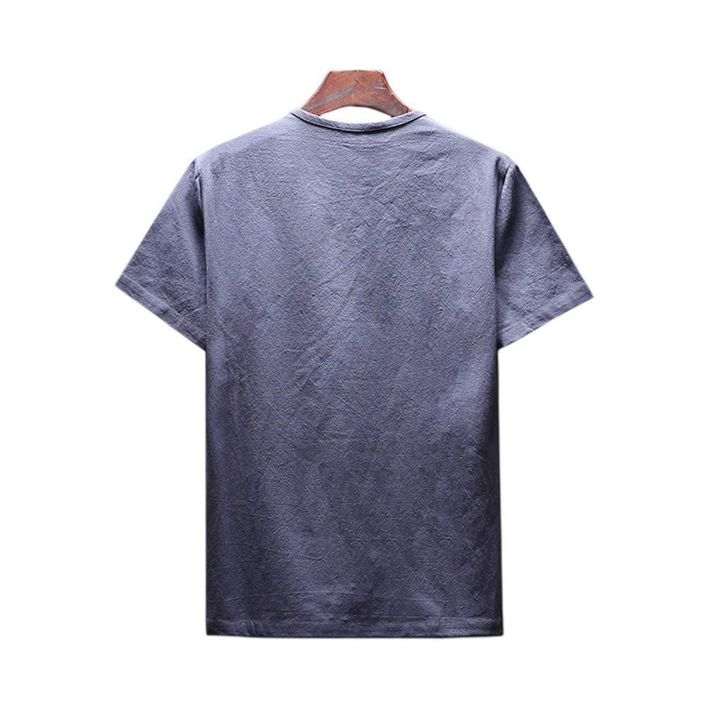Xinvivion Blusa Camisetas para Hombres Color s/ólido Lino Casual Cuello Redondo Fino y Playas Cl/ásicas de Verano de Playa T-Shirt