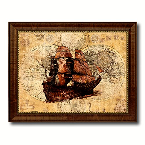 Boat Nautical Vintage Map Brown Framed Canvas Print Ocean Office Home Decor Wall Art Gift Ideas, 18