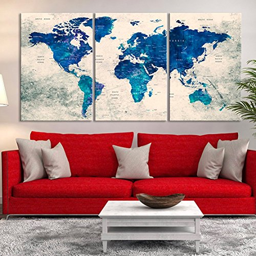 Vintage Blue Wall Art World Map - Push Pin World Travel