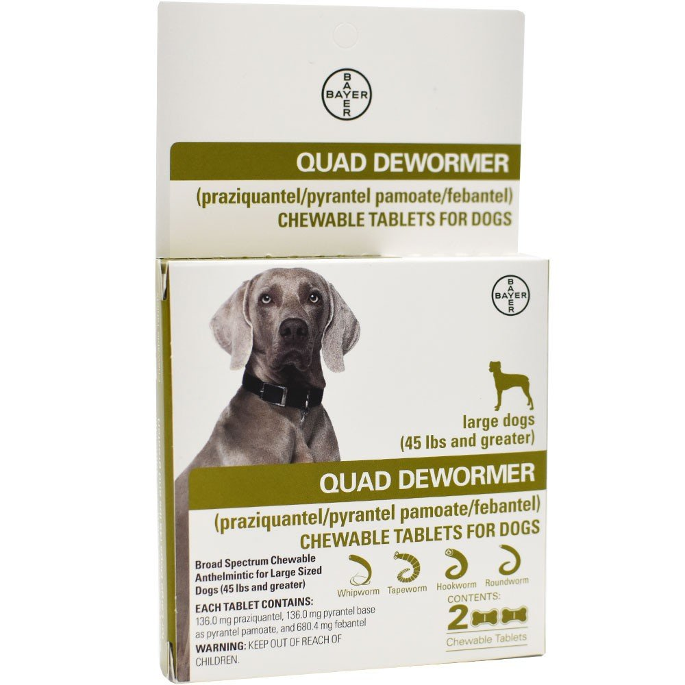 Quad Dewormer for Large Dogs (Over 45 lb) 2 Chewable Tablets
