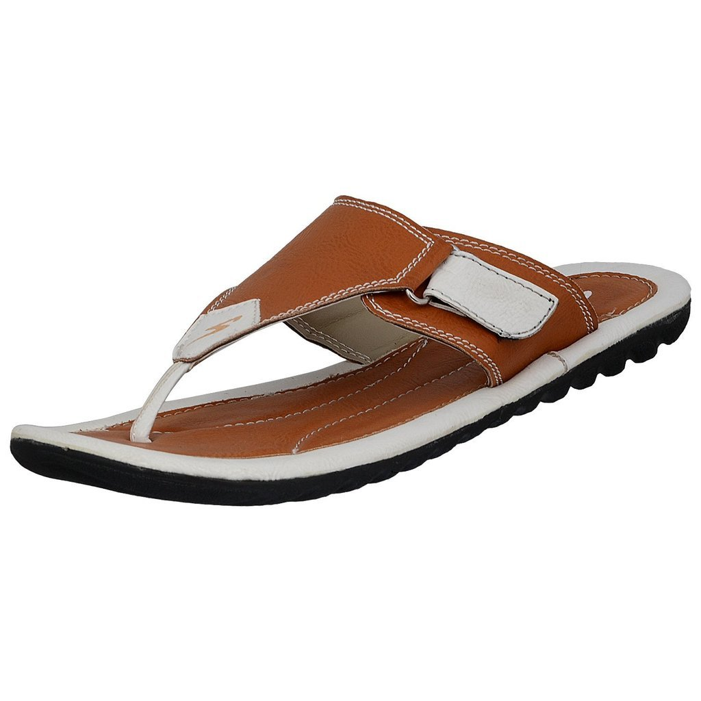 c122b8fb401f Stylar Mahi Synthetic Leather Flip Flops for Men (Color  Tan and White