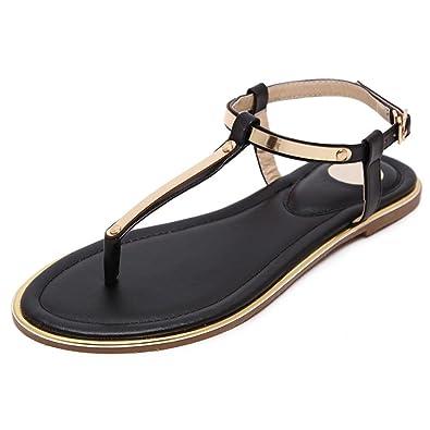 90d5a55bf117 Navoku Women s Stylish Leather Flat Sandals Thong Sandles Black 36 5.5 D(M)  US