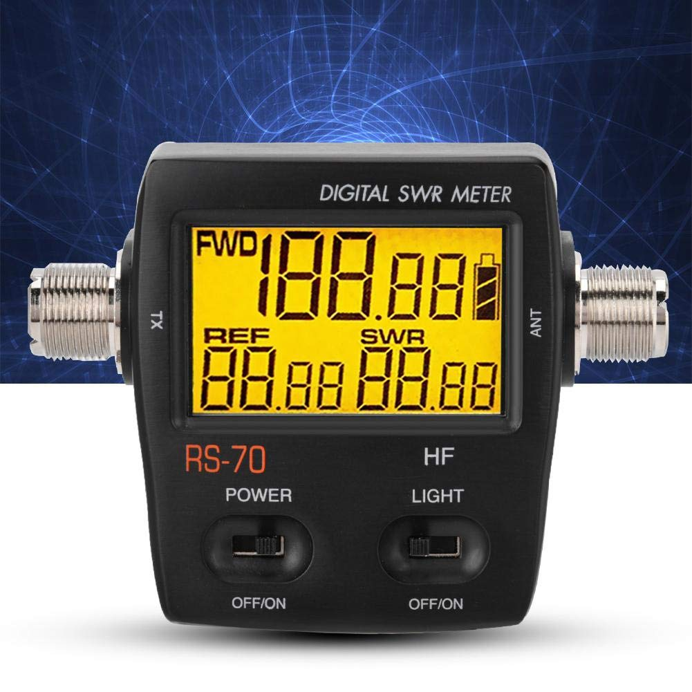 Bewinner Short Wave Digital SWR Standing Wave Meter,Maximum Measurable Power Range up to 200W,LED Backlight Display,Forward//Reversed//VSWR Ration in One Push Button 1.6-60 Mhz Standing Wave Meter