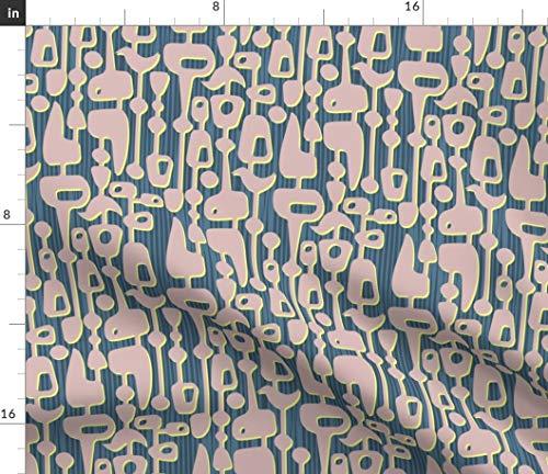 (Spoonflower Retro mod Geometric Fabric - Vintage Home Decor Cool Vintage Retro Fifties Modern Mid Century Geometric by Thirdhalfstudios Printed on Petal Signature Cotton Fabric by The Yard)