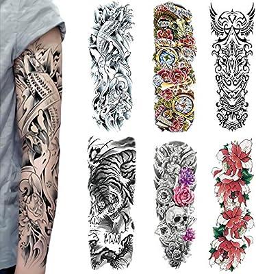 Tatouages Temporaires Grands, Faux Tattoos Bras Complet Pour Hommes et  Femmes, Tigre, Rose, Body art Adultes Autocollants Imperméables (6  PièCes)(2)