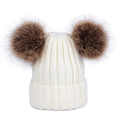 énorme réduction conception de la variété 50% de réduction LAUSONS Tricot Bonnet Enfant Fille Chaud Hiver Bonnet 2 Pompons en Fausse  Fourrure