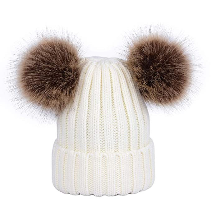 Lau s Cappello invernale ragazza berretto a coste con doppio pon di  pelliccia sintetica bianco 66e996c2f73d