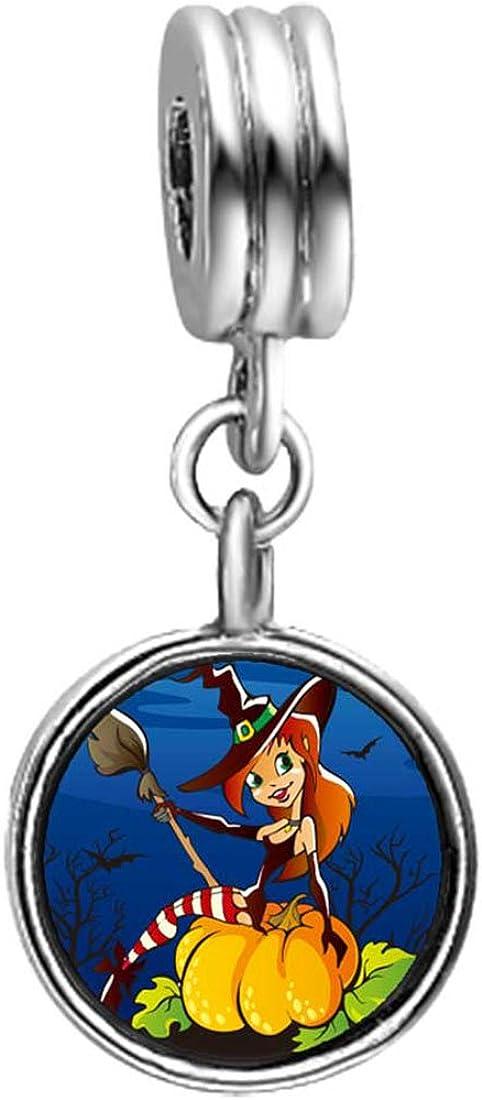 GiftJewelryShop Mermaid in Witch hat Broomstick Pumpkin June Birthstone Flower Dangle Charm Bracelets