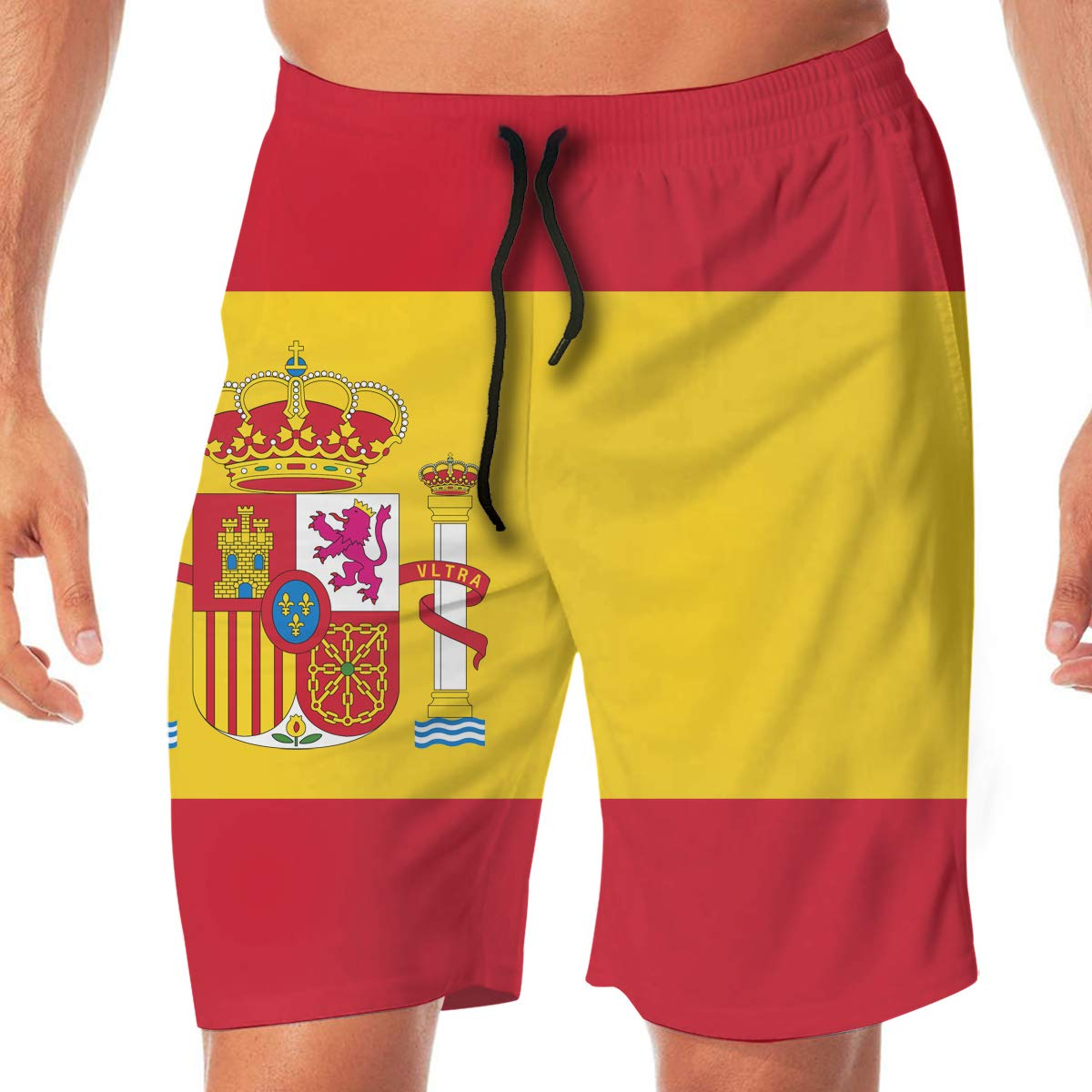 VenMSP Flag of Spain Mens Beach Shorts Showy Board Pants Adult Surf Beach Trunks Home Leisure Trousers
