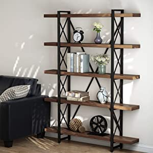 LITTLE TREE 5 Tier Bookcase, Solid Wood 5-Shelf Industrial Style Bookcases and Book Shelves, Metal and Wood Free Vintage Bookshelf, Retro Brown