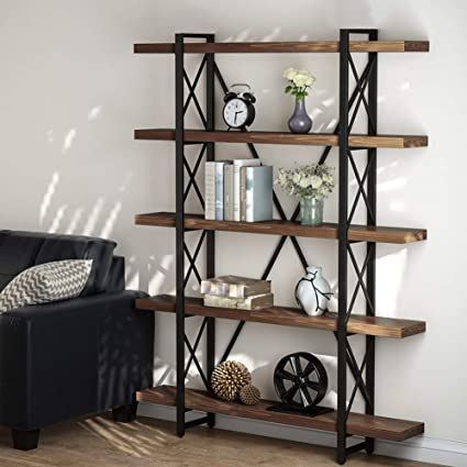 Amazon Com Little Tree 5 Tier Bookcase Solid Wood 5 Shelf