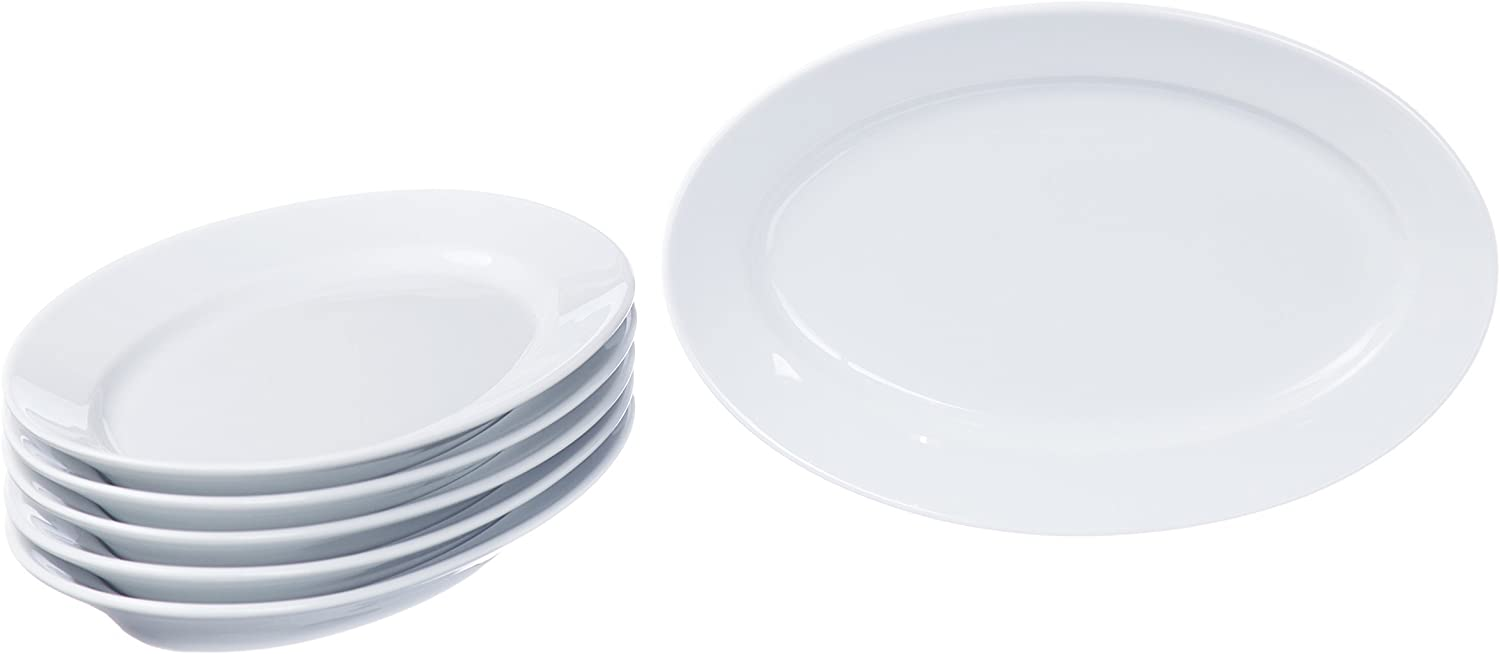 Oval Serving Platters, Serving Dishes, Serving Plates Set, Trays for Parties (3 size), Real Durable White Porcelain, Restaurant&Hotel Quality, 3 Pieces Set, 12.2'' x 8.2''