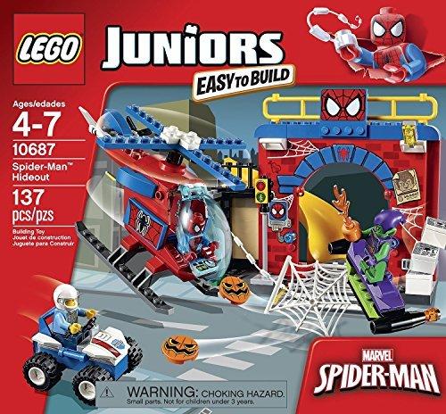 Juniors LEGO 137 PCS Spider-Man Hideout Bike Box Building Toys