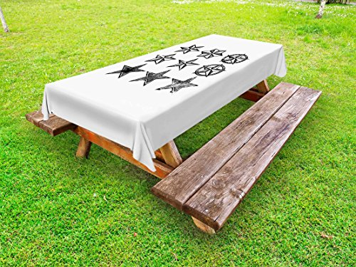 Cheap  Lunarable Texas Outdoor Tablecloth, Grunge Looking Distressed Stars Collection Monochrome Design Old..