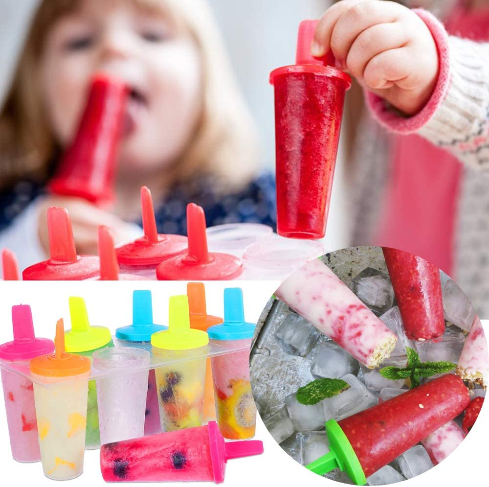 Iindes Ice Lolly Moulds,8pack Reusable Plastic DIY Popsicle Moulds for Kids,with Non-Spill Lid Cleaning Brush Funnel
