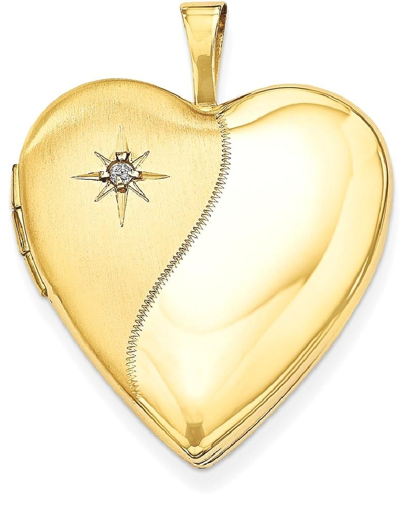 ICE CARATS 14k Yellow Gold 20mm Diamond Heart Photo Pendant Charm Locket Chain Necklace That Holds Pictures Fine Jewelry Gift Set For Women Heart