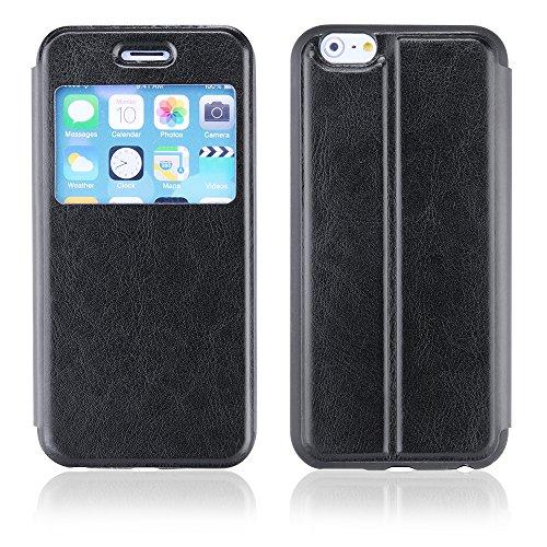 EGO® Slim View für iPhone 6, Schwarz Schutzhülle Flip Case Cover Wallet Klapp Handy Tasche Etui