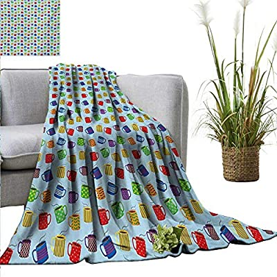 """homehot Coffee Super Soft BlanketsColorful Mugs with Different Patterns Filled with Hot Beverage Caffeine Drink Aroma Bedroom Warm 40"""" Wx60 L Multicolor"""