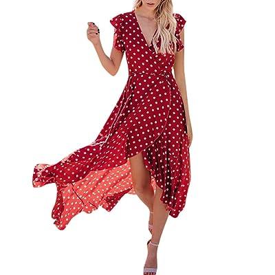 Women's Asymmetrical Maxi Dresses, Ladies Summer Casual Dot Point V Neck Long Dress at Women's Clothing store