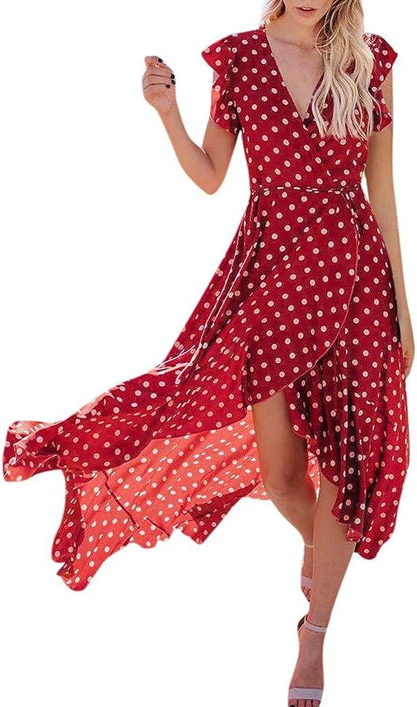 Women Dress Womens Summer Sundress Dots Boho Mermaid Dress Sleeveless Gathered Beach Evening Stripes Ankle Length Maxi Dress