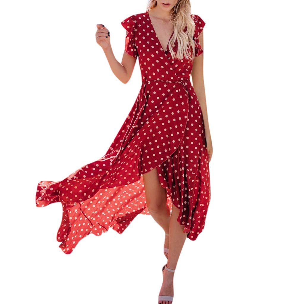 Summer Women's Vintage Elegant Boho Dots Printed V-Neck Irregular Hem Maxi Dress, Smony Fashion Holiday Ladies Long Dresses UK Size 8-14