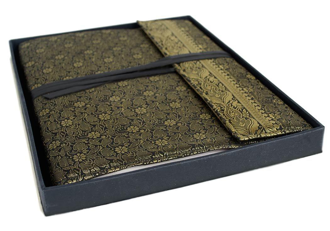Life Arts Handmade Sari Silk Photo Album, Large Black