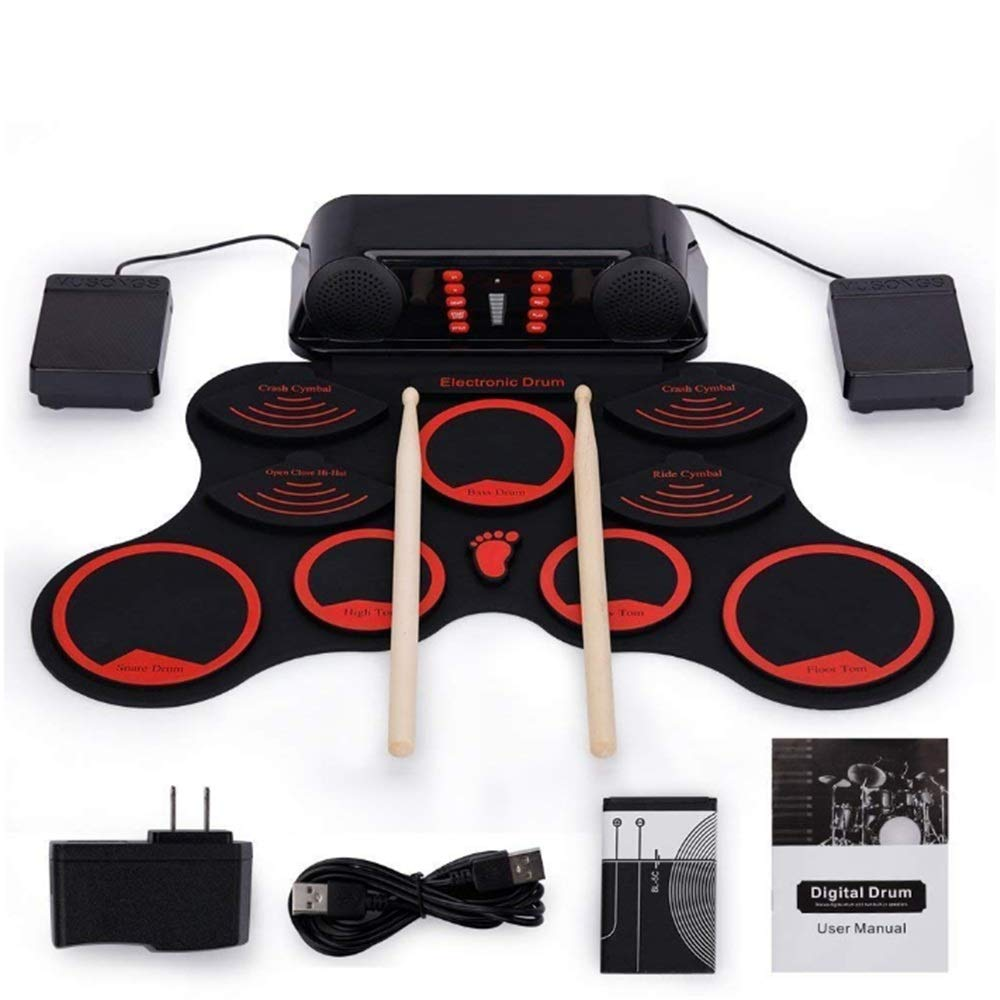 Techecho Digital Electronic Drum Kit 9 Pads Portable Electronic Roll Up Drum Foldable Practice Drum for Kids Beginner Adult for Kids Children Beginners by Techecho