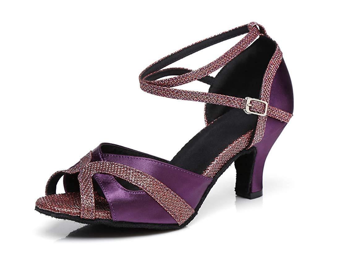 Qiusa Frauen 2,5   3  Ferse Ferse Ferse Designer Ankel Strap Latin Salsa Tanzschuhe Abend Sandalen Lila UK 6,5 (Farbe   - Größe   -) 150a89