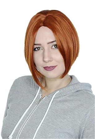 Prettyland C457 Bob Kurze Perucke Mittelscheitel Frisuren Trend Wig Kupferrot Orange