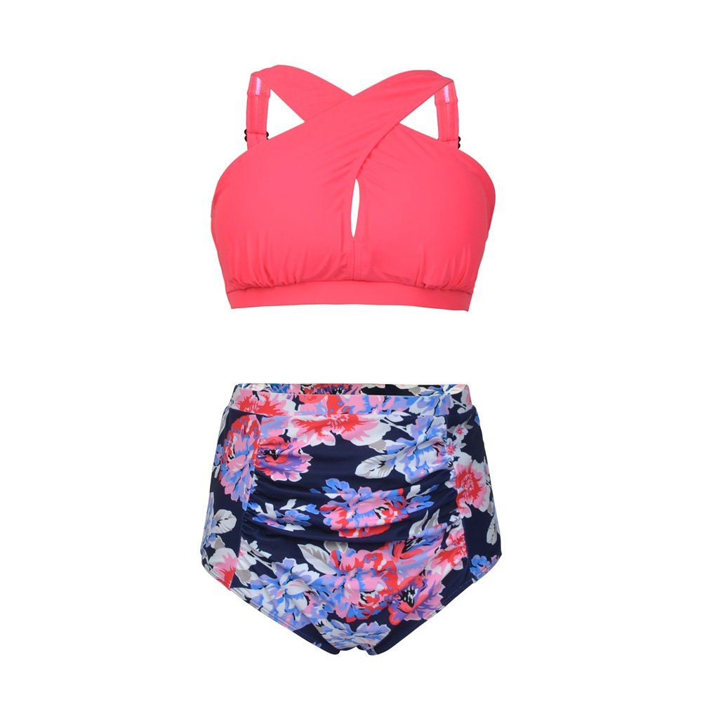 bff925e184fe3 Top2: Dreaweet Vintage Women\'s Plus Size High Waist Floral Front Cross Bikini  Swimsuit