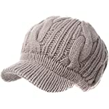 SIGGI 100% Merino Wool newsboy Cap Winter Hat Visor Beret Cold Weather Knitted