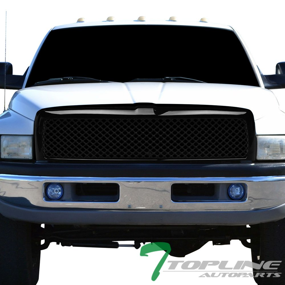 Topline Autopart Glossy Black Mesh Front Hood Bumper Grill Grille Cover Conversion For 94-01 Dodge Ram 1500 ; 94-02 2500 / 3500
