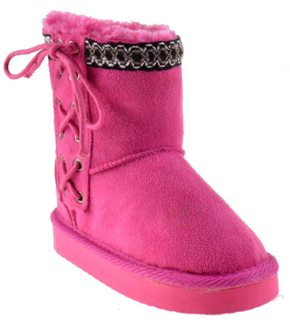 Kailin K Little Girls Shearling Boots Fushia 1