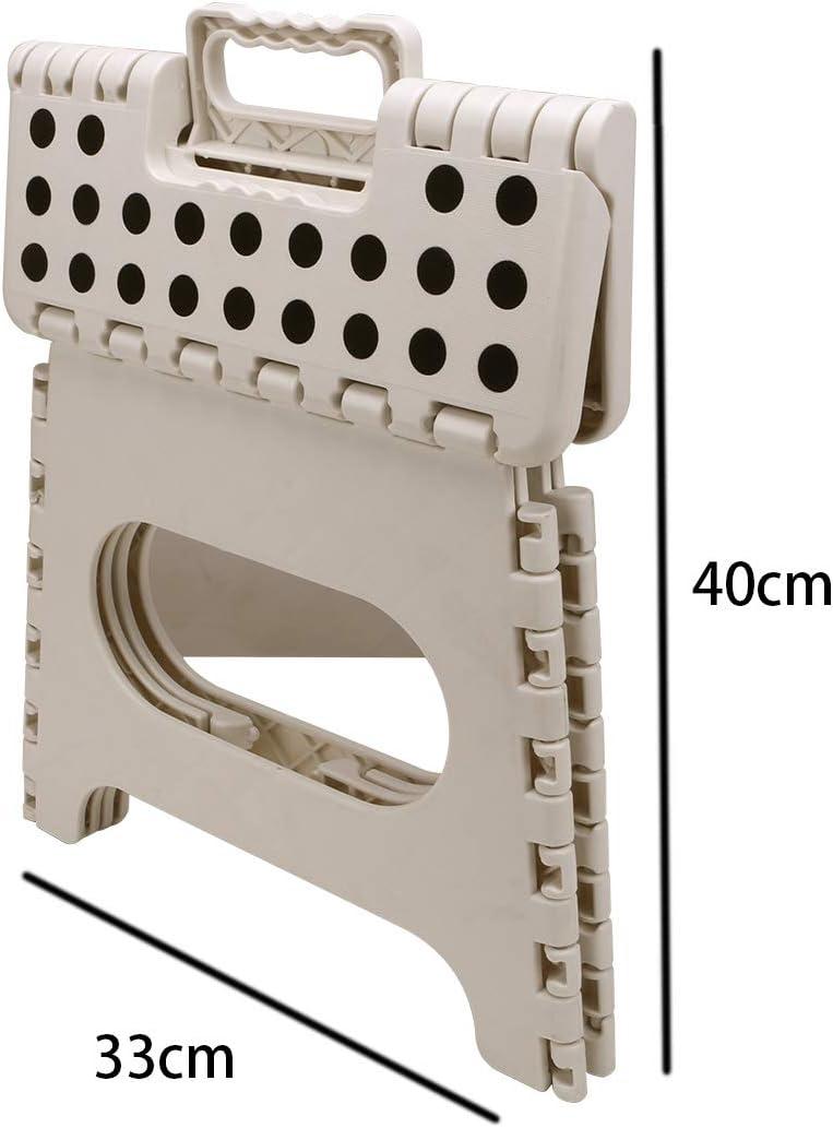 33 cm Bianco Pratico Sgabello Pieghevole per Bambini e Adulti con Manici Sgabello Pieghevole in plastica Super Resistente Gaocunh