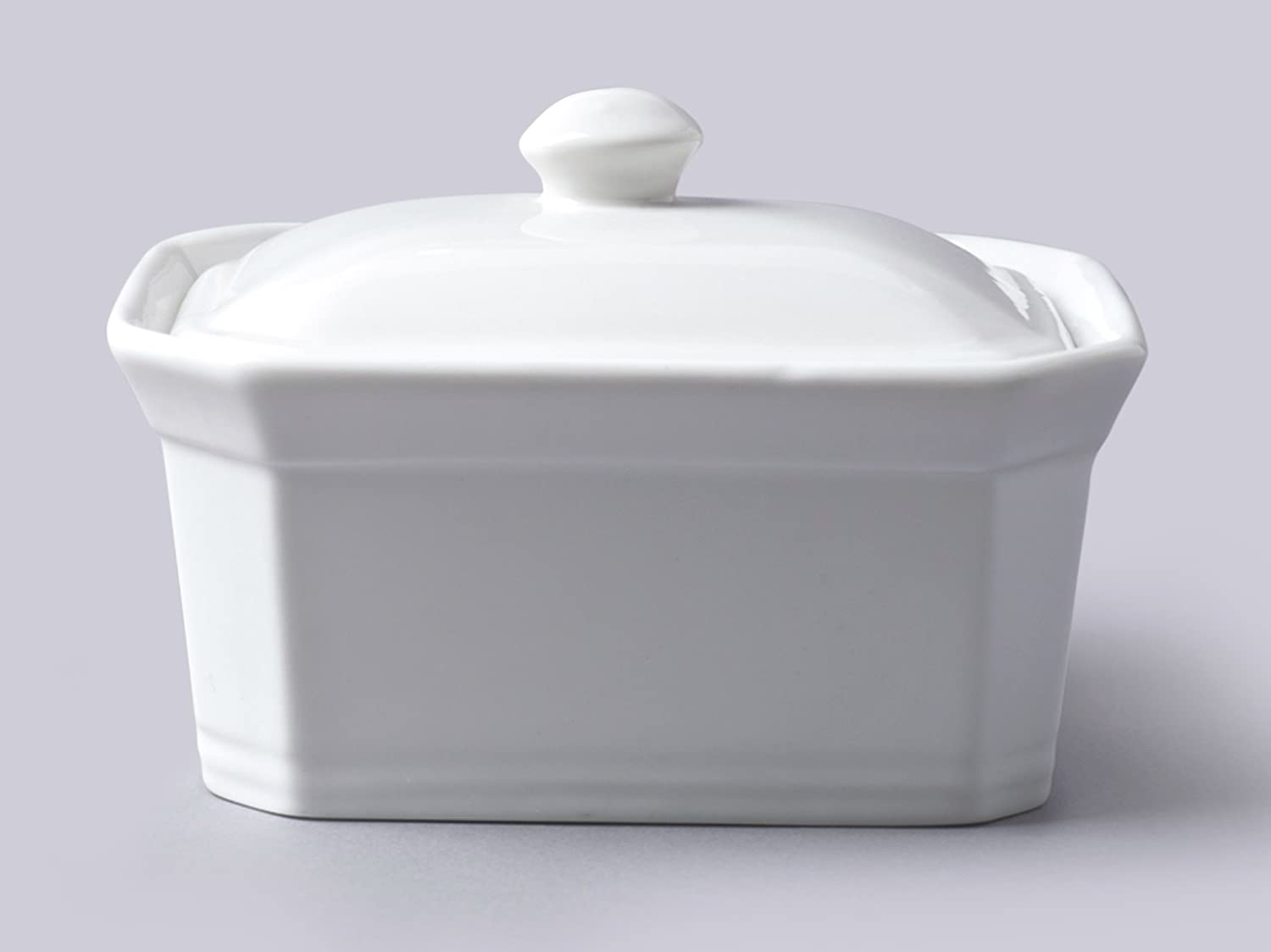Butter/Terrine Dish with Lid (15x7x12cm) - White Ceramic CKS T153