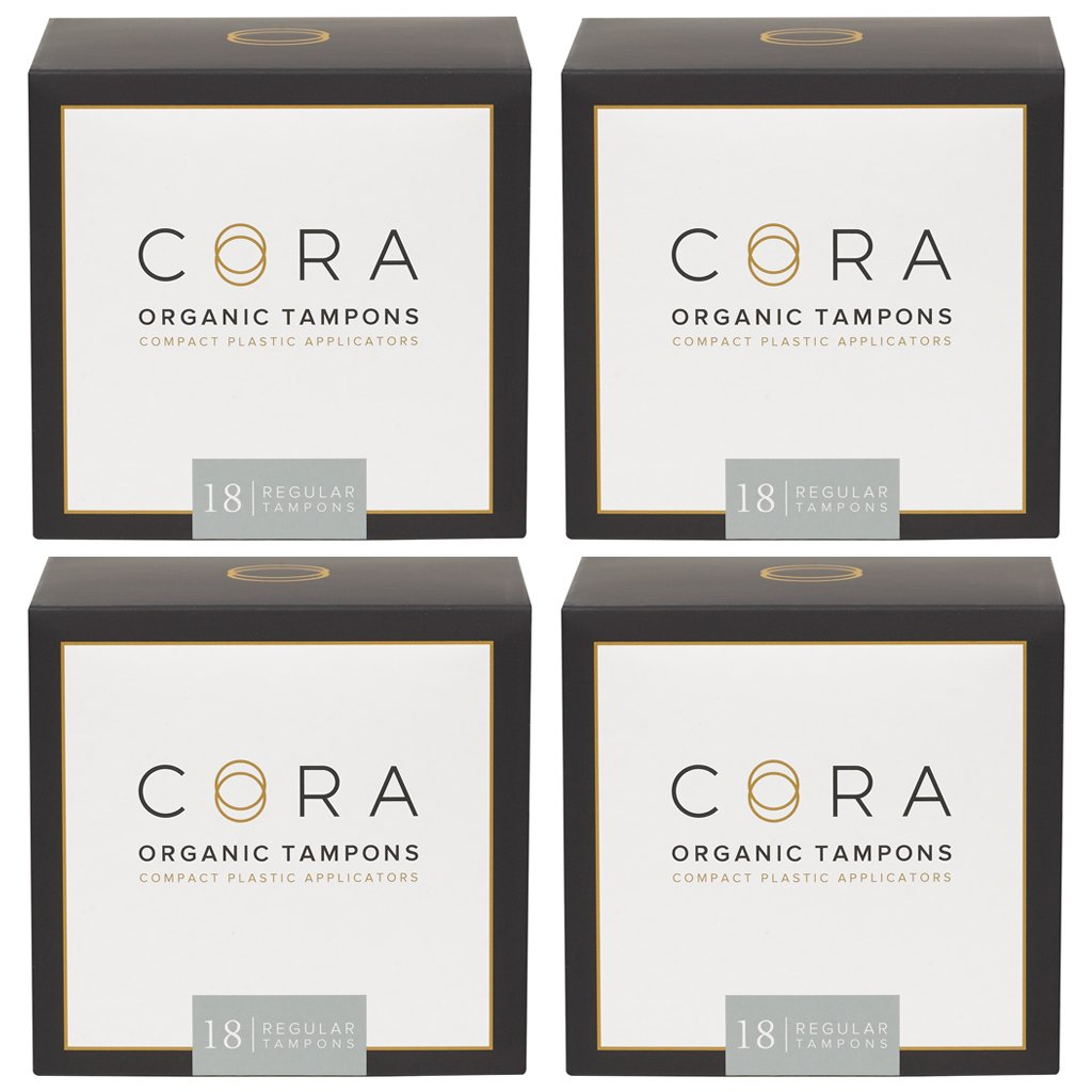 Cora Organic Cotton Tampons with Applicator (72 Count; Regular)