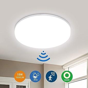Plafón LED con detector de movimiento 18W 1800LM, lámpara de techo impermeable IP54, LEOEU Sensor de luz para baño, pasillo, balcón, garaje, sótano, escaleras, 4000K Ø22cm: Amazon.es: Iluminación