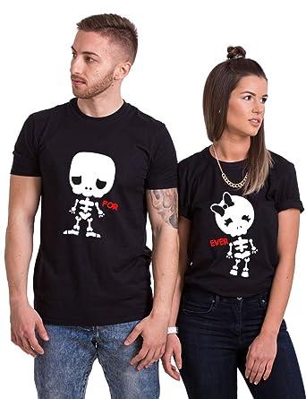 a4d77e3b Halloween Couple Shirts Cute Matching Couple Shirts Set Funny (Black,  Men-2XL+