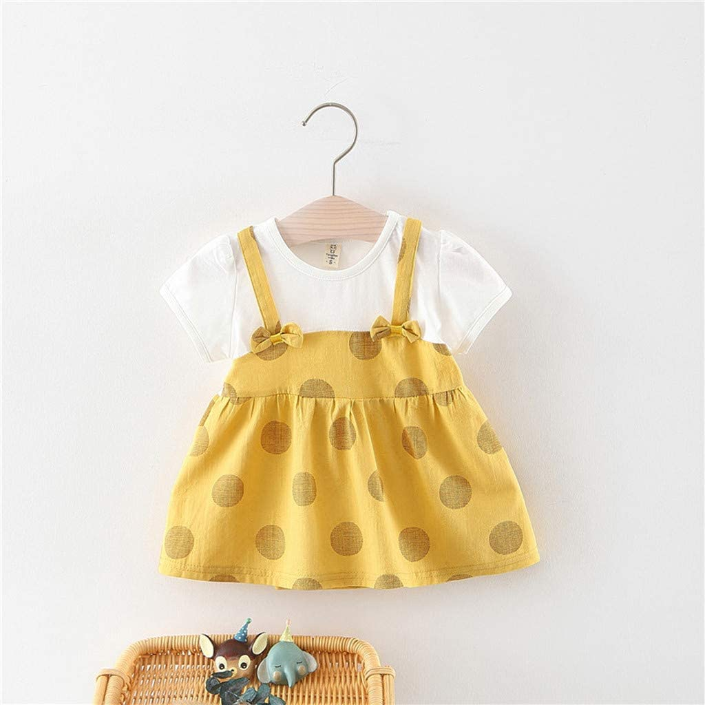 Fabal Toddler Baby Kid Girl Floral Flowers Skirt Party Princess Dresses Casual Clothes Yellow