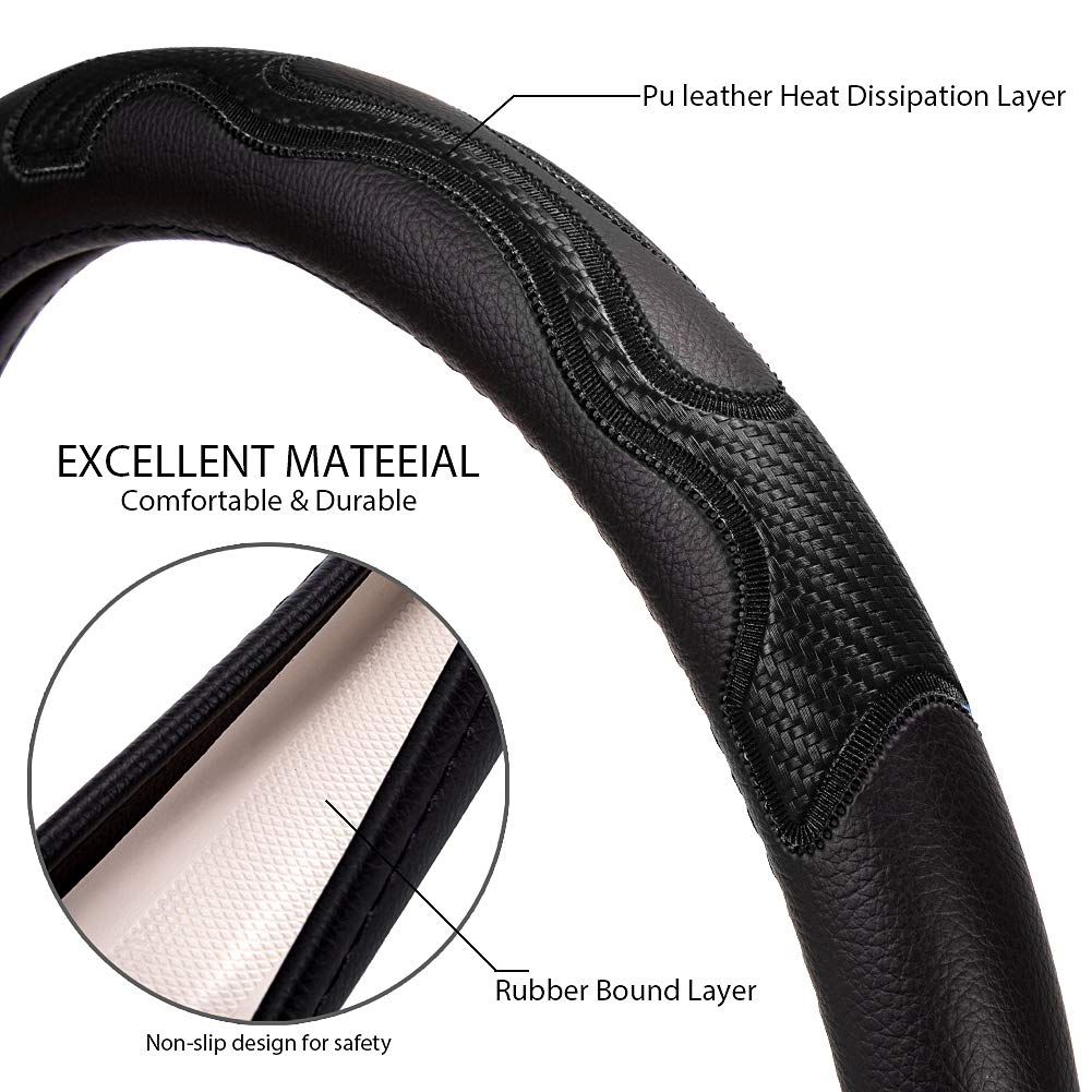 Cheerffer Steering Wheel Cover Auto Car Soft Breathable Seam PU Leather car Steering Wheel Cover for Men Odorless and Anti Slip Cover (Universal 15 inch) Black