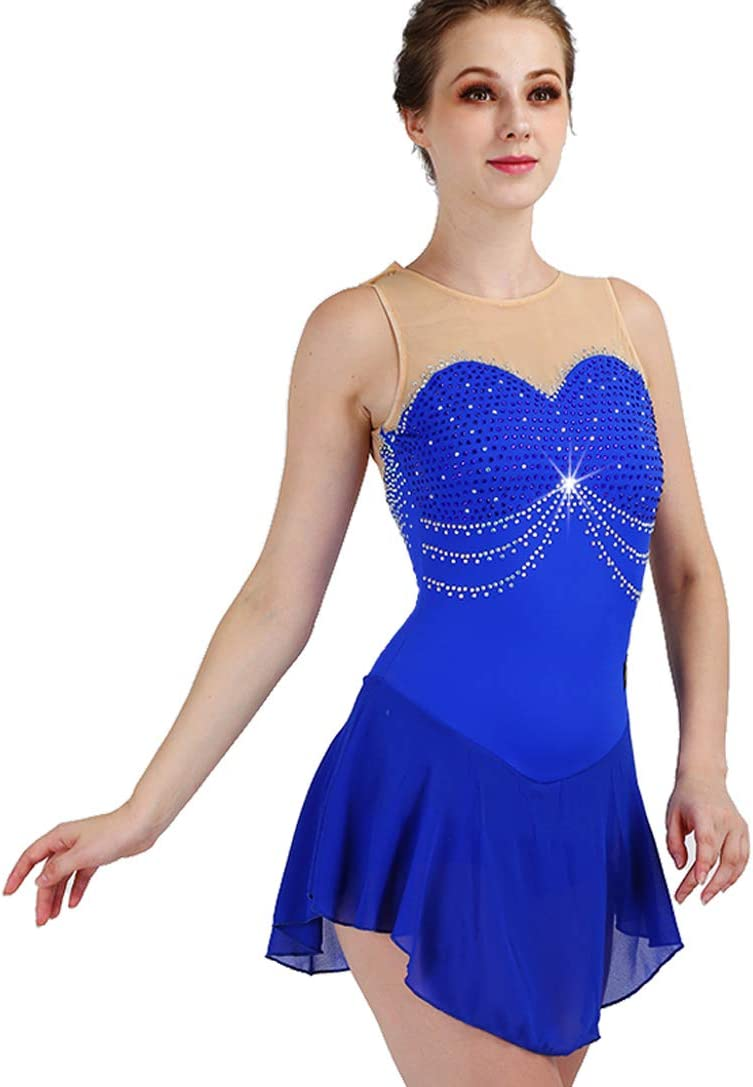 [RIKOUZY] フィギュアスケート衣装 子供 大人 ノースリーブ 肌色と青いの組み合わせ アイススケートウェア 専用レオタード レッスン着 練習 競技 ダンスウェア スケート衣装 ブルー 大人L