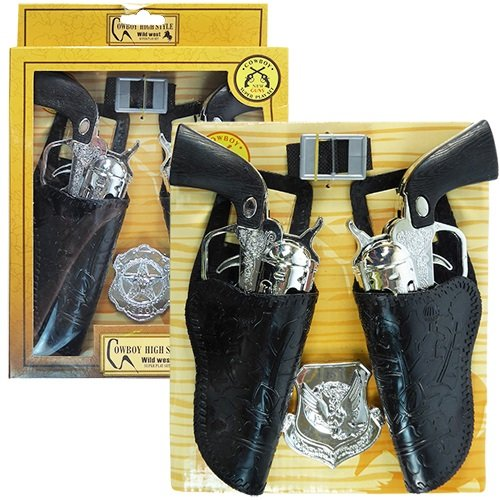 (iGifts Inc. Cowboy Gun Playset with Dual Western Pistols & Holsters, Sheriff Badge & Belt)