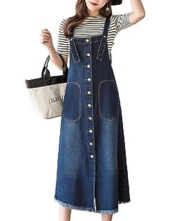9eedbf27c9dd Innifer Women/Junior Front Button Midi Length Strap Pinafore Denim Jean  Overall Dress