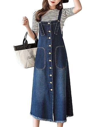 bdee6de94d0 Amazon.com  Innifer Women Junior Front Button Midi Length Strap Pinafore Denim  Jean Overall Dress  Clothing