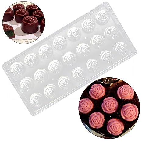 WINKEY – Molde de, transparente rígida de plástico policarbonato PC en forma de rosa Chocolate