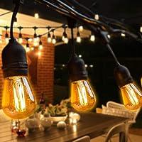 BRTLX S14 Guirnalda Exterior Luminosas,Impermeable IP65,49Ft/15M Cadena de Luz con 15 LED Bombillas Guirnalda Luces…