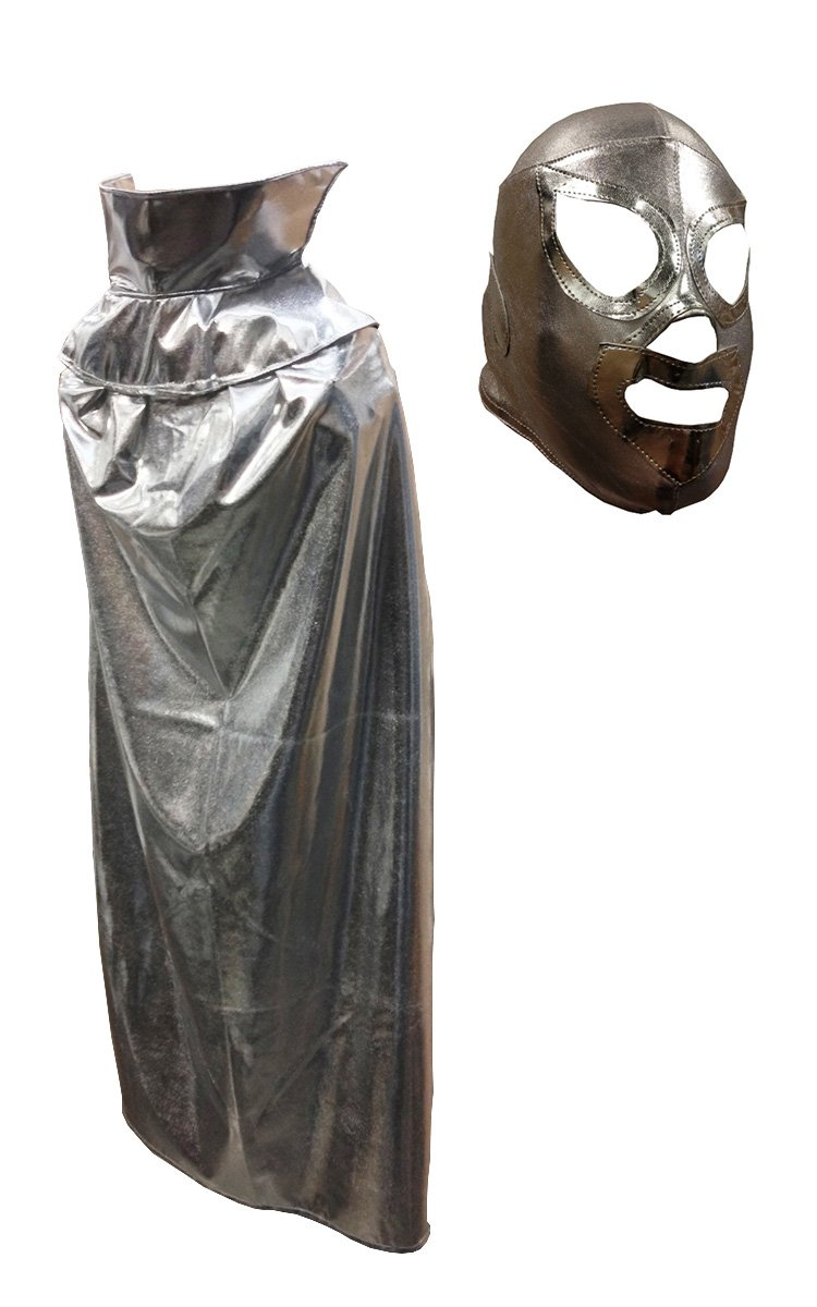 SANTO JR Youth Lucha Libre Wrestling Mask & Cape Halloween Costume Set - Silver by Mask Maniac