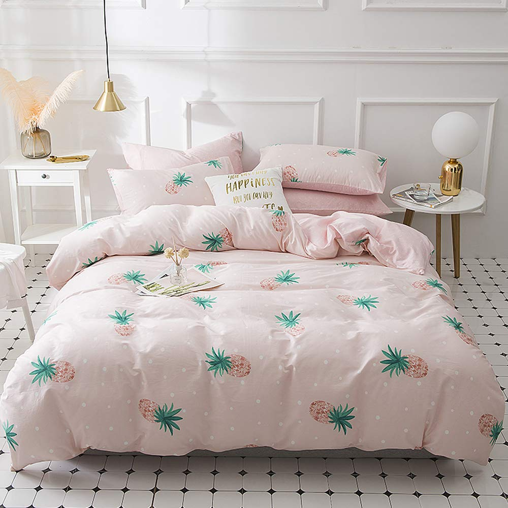 EnjoyBridal Duvet Cover, Pink Pineapple Bedding Sets Queen, Kids Cotton Comforter Cover Full Sets with Zipper Closure, Lightweight Teens Girls Bedding Quilt Cover Full/Queen, No Comforter