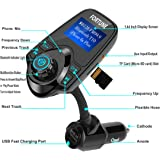 8-In-1 FM Transmitter for car Bluetooth Receiver Car MP3 Player With Mic TF Card Slot AUX In/out Port USB Charger Car Kit Transfer Mobile Music/Call/Google Navigation To Car FM Radio 1.44 Inch Display